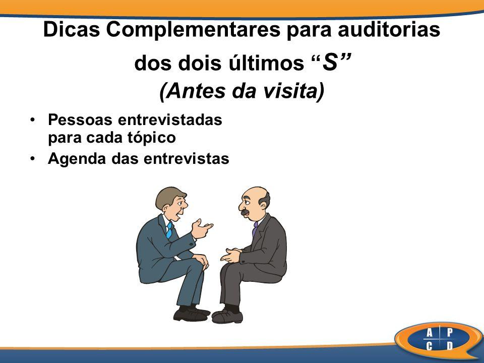 Dicas Complementares para auditorias dos dois últimos S (Antes da visita) Pessoas entrevistadas para cada tópico Agenda das entrevistas
