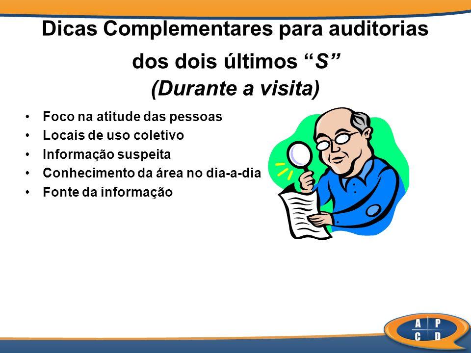 Dicas Complementares para auditorias dos dois últimos S (Durante a visita) Foco na atitude das pessoas Locais de uso coletivo Informação suspeita Conh