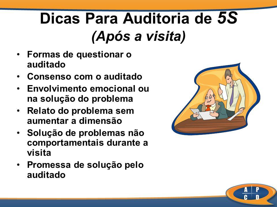 Dicas Para Auditoria de 5S (Após a visita) Formas de questionar o auditado Consenso com o auditado Envolvimento emocional ou na solução do problema Re