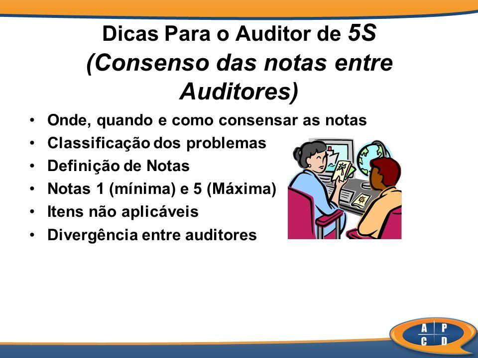 Dicas Para o Auditor de 5S (Consenso das notas entre Auditores) Onde, quando e como consensar as notas Classificação dos problemas Definição de Notas