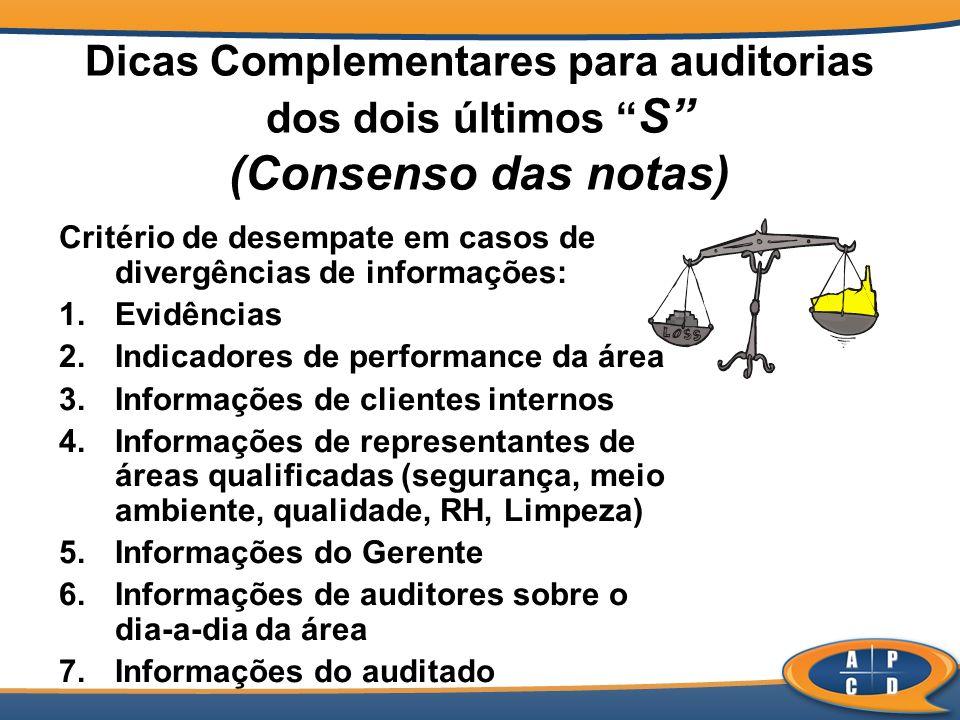 Dicas Complementares para auditorias dos dois últimos S (Consenso das notas) Critério de desempate em casos de divergências de informações: 1.Evidênci