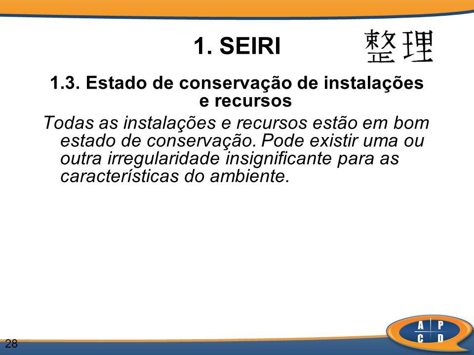 28 1. SEIRI 1.3. Estado de conservação de instalações e recursos Todas as instalações e recursos estão em bom estado de conservação. Pode existir uma