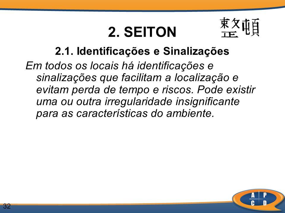 32 2. SEITON 2.1. Identificações e Sinalizações Em todos os locais há identificações e sinalizações que facilitam a localização e evitam perda de temp