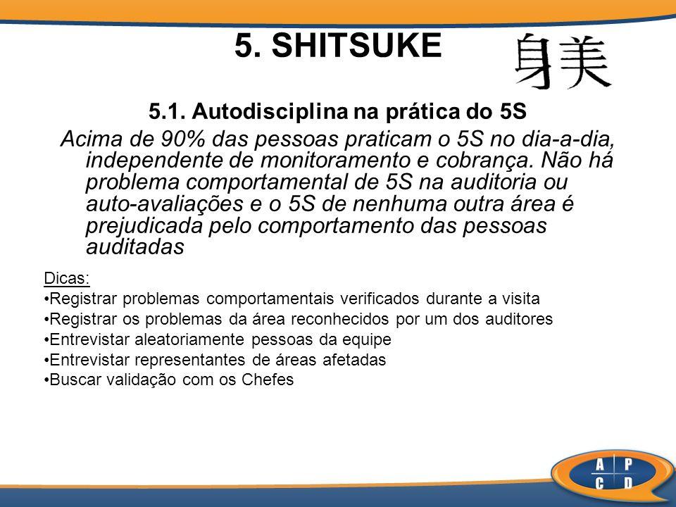 5. SHITSUKE 5.1. Autodisciplina na prática do 5S Acima de 90% das pessoas praticam o 5S no dia-a-dia, independente de monitoramento e cobrança. Não há