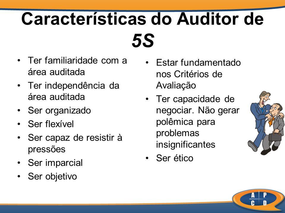 Características do Auditor de 5S Ter familiaridade com a área auditada Ter independência da área auditada Ser organizado Ser flexível Ser capaz de res