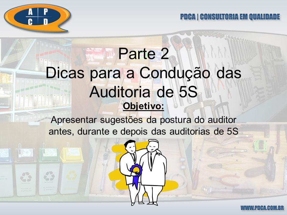 Dicas Para Auditoria de 5S (Antes da visita) Familiaridade com a área Agenda da auditoria Máquina Fotográfica Critérios de avaliação Relatório da auditoria anterior Recursos para a auditoria