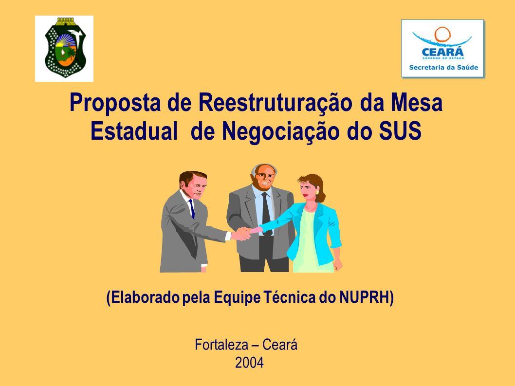 Proposta de Reestruturação da Mesa Estadual de Negociação do SUS (Elaborado pela Equipe Técnica do NUPRH) Fortaleza – Ceará 2004