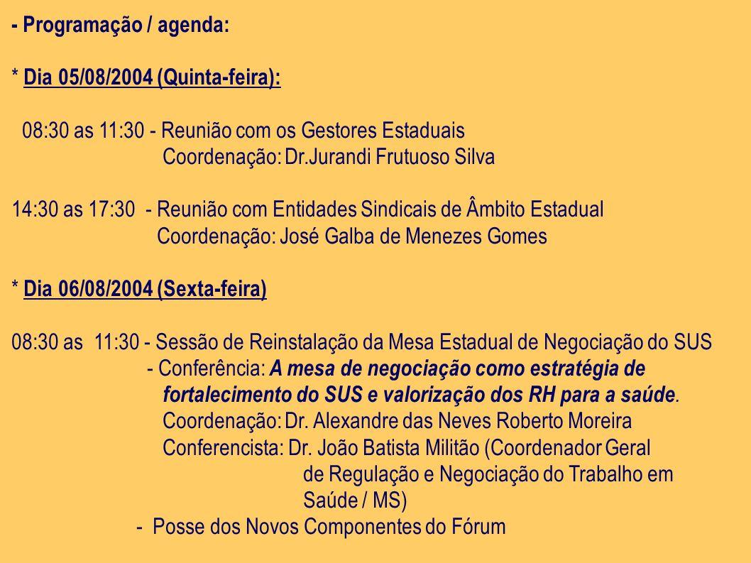 - Programação / agenda: * Dia 05/08/2004 (Quinta-feira): 08:30 as 11:30 - Reunião com os Gestores Estaduais Coordenação: Dr.Jurandi Frutuoso Silva 14: