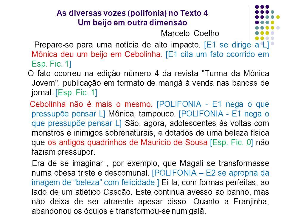 As diversas vozes (polifonia) no Texto 4 Um beijo em outra dimensão Marcelo Coelho Prepare-se para uma notícia de alto impacto. [E1 se dirige a L] Môn