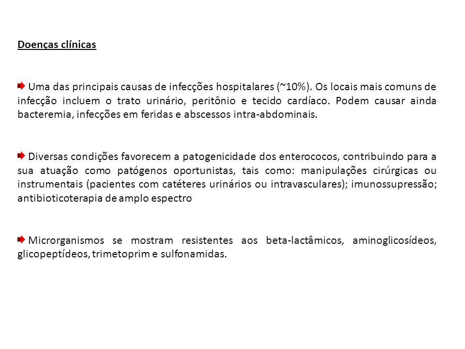 Doenças clínicas Uma das principais causas de infecções hospitalares (~10%).