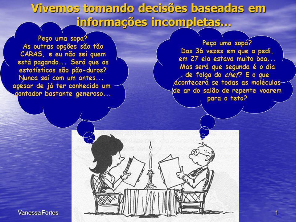 Vanessa FortesAula 51 Vivemos tomando decisões baseadas em informações incompletas... Peço uma sopa? As outras opções são tão CARAS, e eu não sei quem