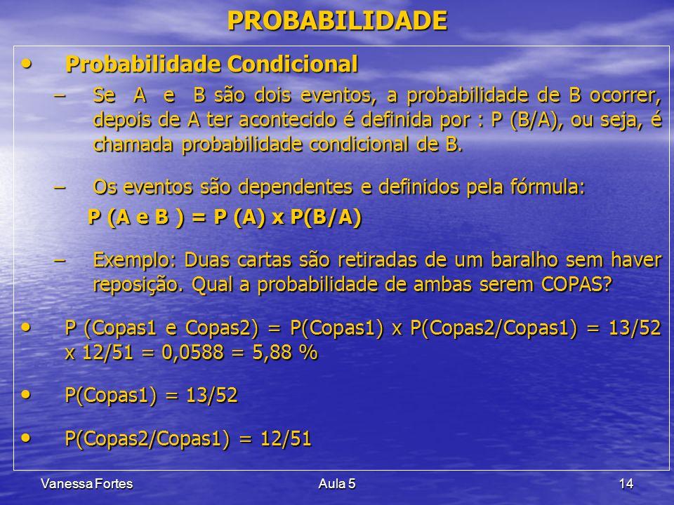 Vanessa FortesAula 514 PROBABILIDADE Probabilidade Condicional Probabilidade Condicional –Se A e B são dois eventos, a probabilidade de B ocorrer, dep