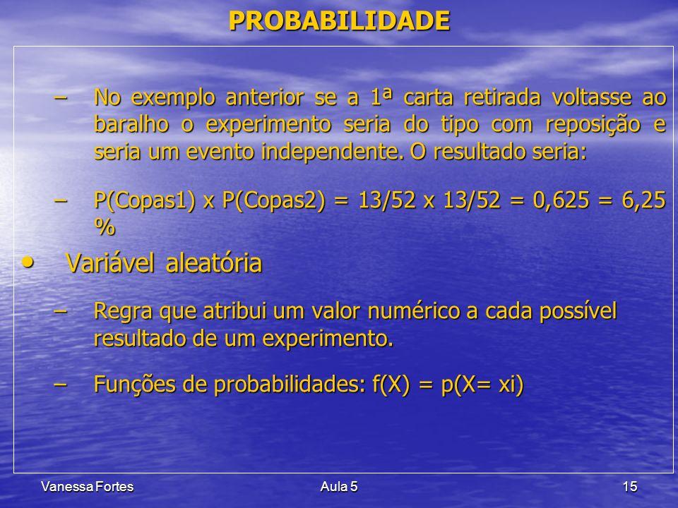Vanessa FortesAula 515 PROBABILIDADE –No exemplo anterior se a 1ª carta retirada voltasse ao baralho o experimento seria do tipo com reposição e seria