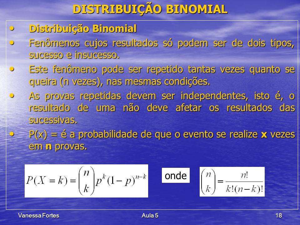 Vanessa FortesAula 518 DISTRIBUIÇÃO BINOMIAL Distribuição Binomial Distribuição Binomial Fenômenos cujos resultados só podem ser de dois tipos, sucess