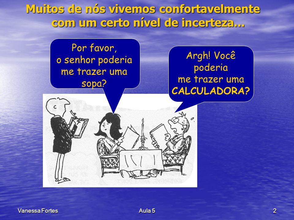 Vanessa FortesAula 513 PROBABILIDADE Eventos Mutuamente Exclusivos Eventos Mutuamente Exclusivos –Quando a realização de um exclui a realização do(s) outro(s).