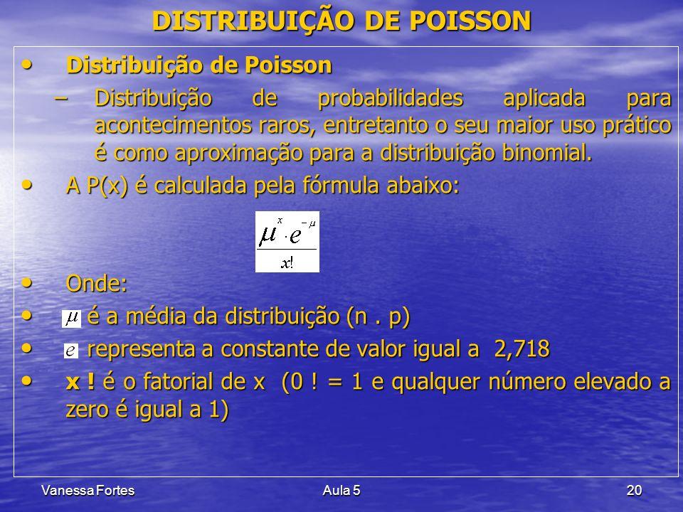 Vanessa FortesAula 520 DISTRIBUIÇÃO DE POISSON Distribuição de Poisson Distribuição de Poisson –Distribuição de probabilidades aplicada para acontecim