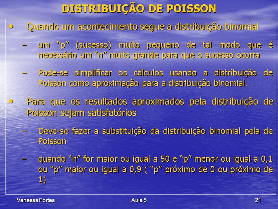 Vanessa FortesAula 521 DISTRIBUIÇÃO DE POISSON Quando um acontecimento segue a distribuição binomial Quando um acontecimento segue a distribuição bino