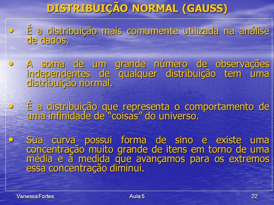 Vanessa FortesAula 522 DISTRIBUIÇÃO NORMAL (GAUSS) É a distribuição mais comumente utilizada na análise de dados. É a distribuição mais comumente util