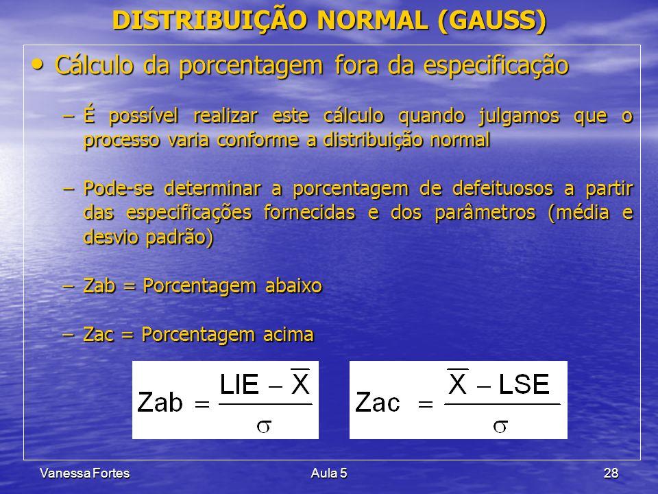 Vanessa FortesAula 528 Cálculo da porcentagem fora da especificação Cálculo da porcentagem fora da especificação –É possível realizar este cálculo qua