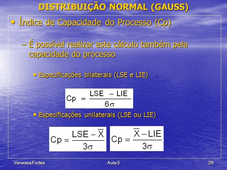 Vanessa FortesAula 529 Índice de Capacidade do Processo (Cp) Índice de Capacidade do Processo (Cp) –É possível realizar este cálculo também pela capac