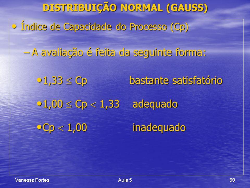 Vanessa FortesAula 530 Índice de Capacidade do Processo (Cp) Índice de Capacidade do Processo (Cp) –A avaliação é feita da seguinte forma: 1,33 Cp bas