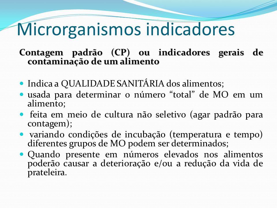 Microrganismos indicadores Contagem padrão (CP) ou indicadores gerais de contaminação de um alimento Indica a QUALIDADE SANITÁRIA dos alimentos; usada