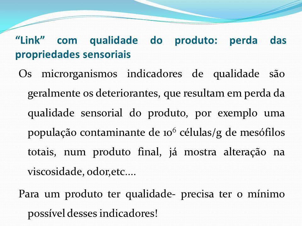 Link com qualidade do produto: perda das propriedades sensoriais Os microrganismos indicadores de qualidade são geralmente os deteriorantes, que resul