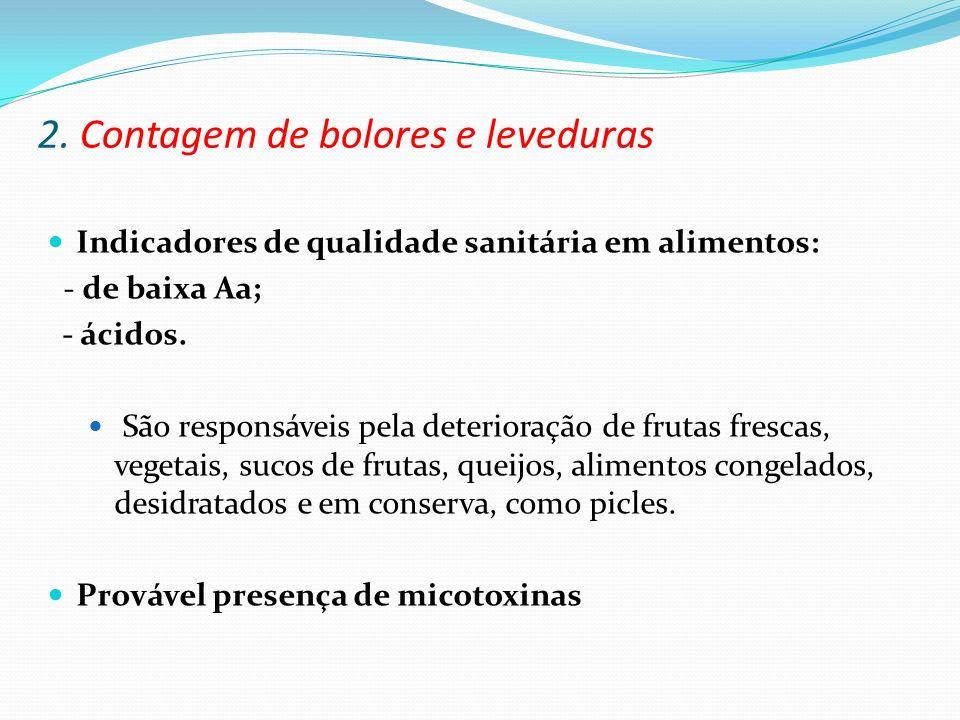 2. Contagem de bolores e leveduras Indicadores de qualidade sanitária em alimentos: - de baixa Aa; - ácidos. São responsáveis pela deterioração de fru