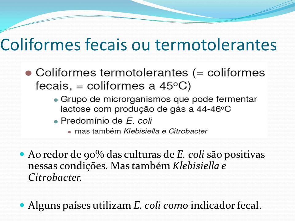 Coliformes fecais ou termotolerantes Ao redor de 90% das culturas de E. coli são positivas nessas condições. Mas também Klebisiella e Citrobacter. Alg