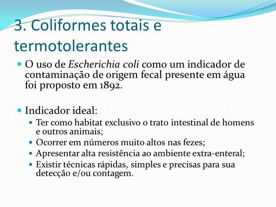 3. Coliformes totais e termotolerantes O uso de Escherichia coli como um indicador de contaminação de origem fecal presente em água foi proposto em 18