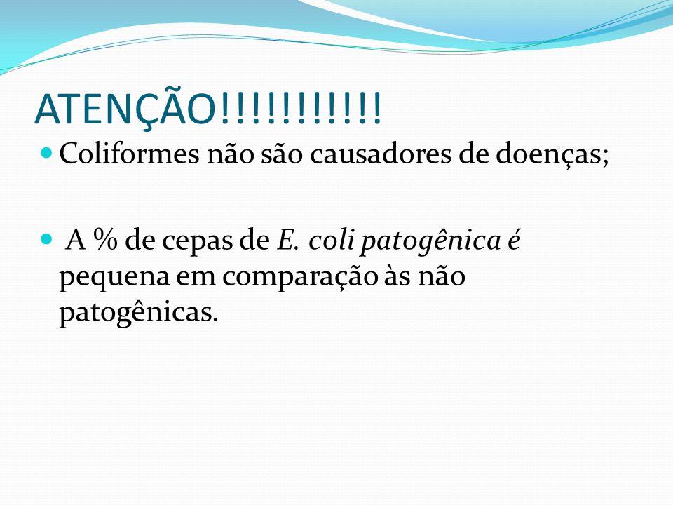 ATENÇÃO!!!!!!!!!!! Coliformes não são causadores de doenças; A % de cepas de E. coli patogênica é pequena em comparação às não patogênicas.