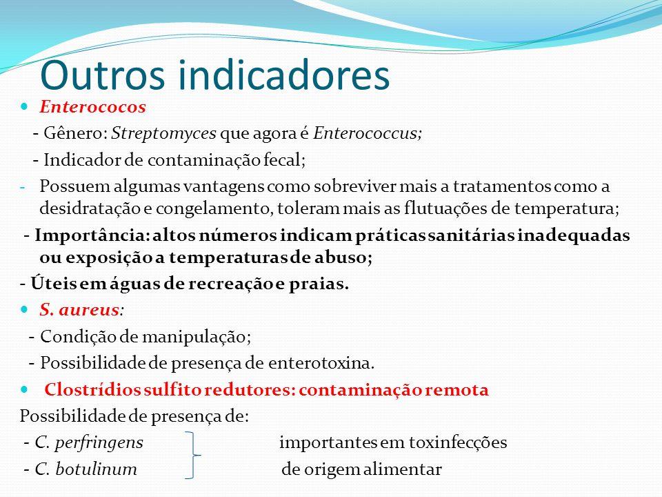 Outros indicadores Enterococos - Gênero: Streptomyces que agora é Enterococcus; - Indicador de contaminação fecal; - Possuem algumas vantagens como so
