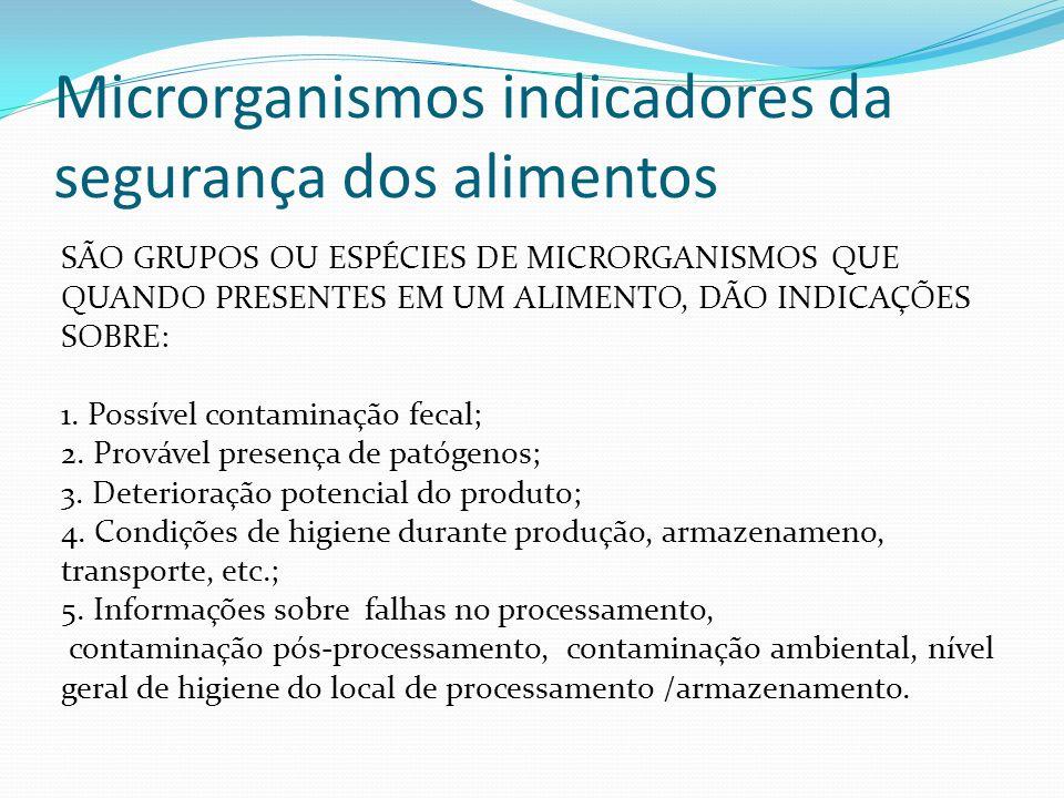 Microrganismos indicadores da segurança dos alimentos SÃO GRUPOS OU ESPÉCIES DE MICRORGANISMOS QUE QUANDO PRESENTES EM UM ALIMENTO, DÃO INDICAÇÕES SOB