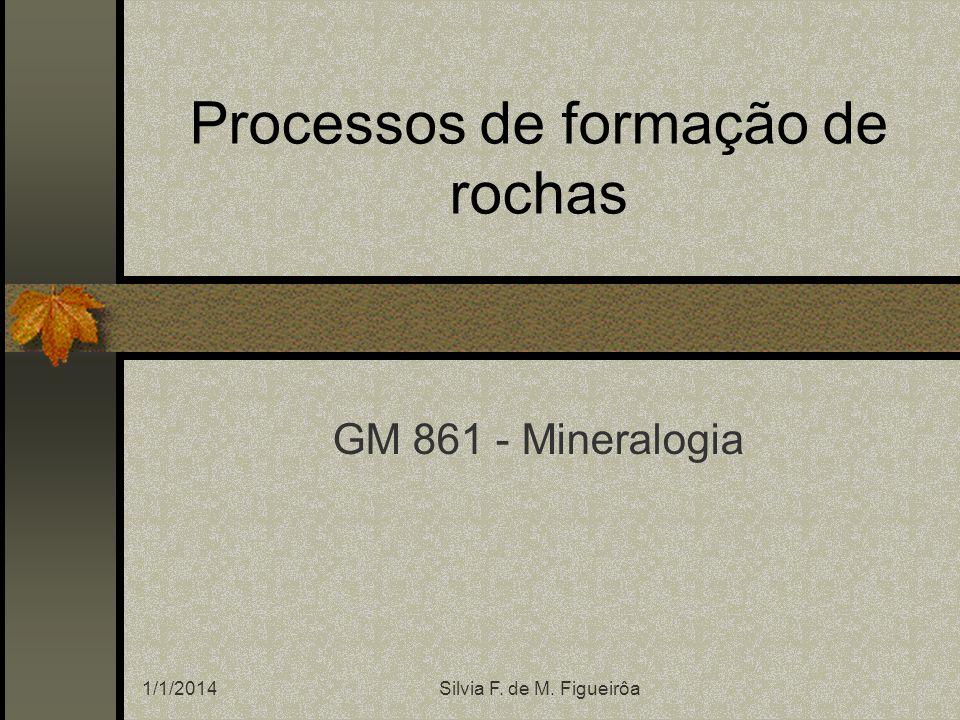 1/1/2014Silvia F. de M. Figueirôa Processos de formação de rochas GM 861 - Mineralogia
