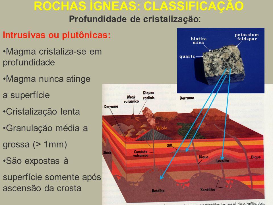 Intrusivas ou plutônicas: Magma cristaliza-se em profundidade Magma nunca atinge a superfície Cristalização lenta Granulação média a grossa (> 1mm) Sã