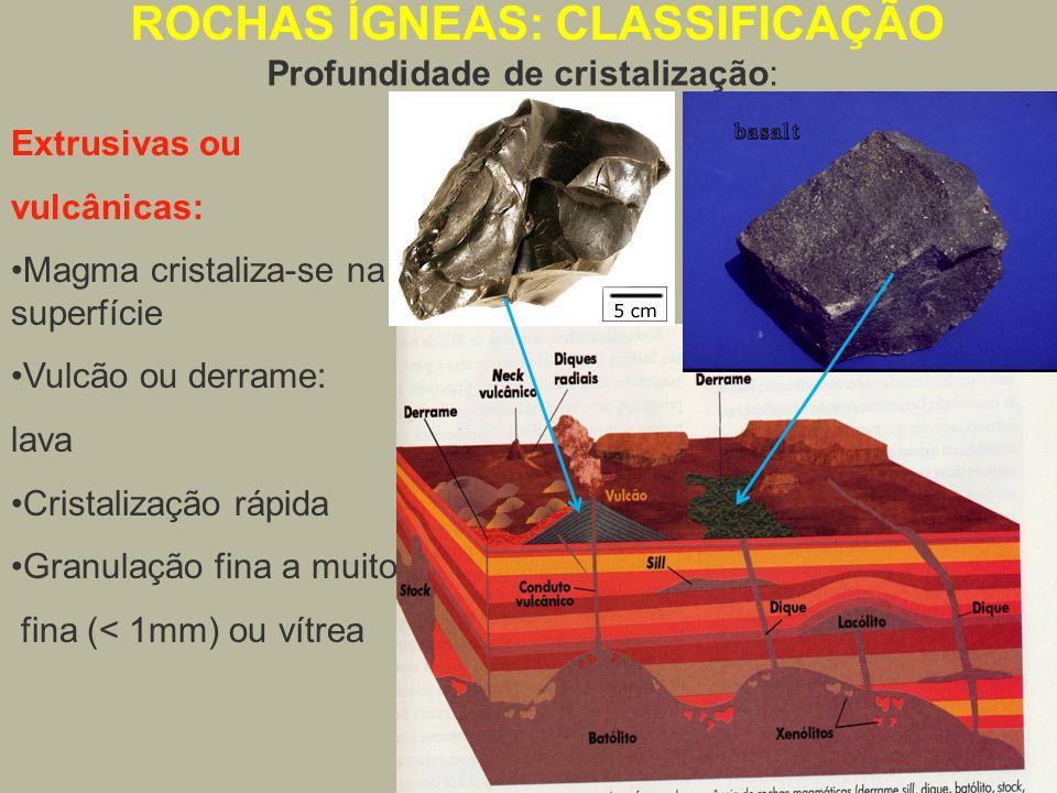 Extrusivas ou vulcânicas: Magma cristaliza-se na superfície Vulcão ou derrame: lava Cristalização rápida Granulação fina a muito fina (< 1mm) ou vítre