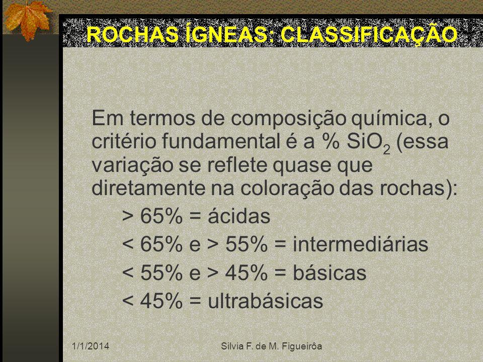 1/1/2014Silvia F. de M. Figueirôa Em termos de composição química, o critério fundamental é a % SiO 2 (essa variação se reflete quase que diretamente