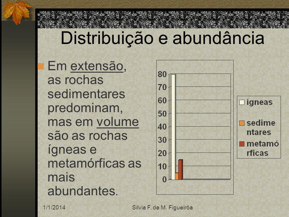 1/1/2014Silvia F. de M. Figueirôa Distribuição e abundância Em extensão, as rochas sedimentares predominam, mas em volume são as rochas ígneas e metam