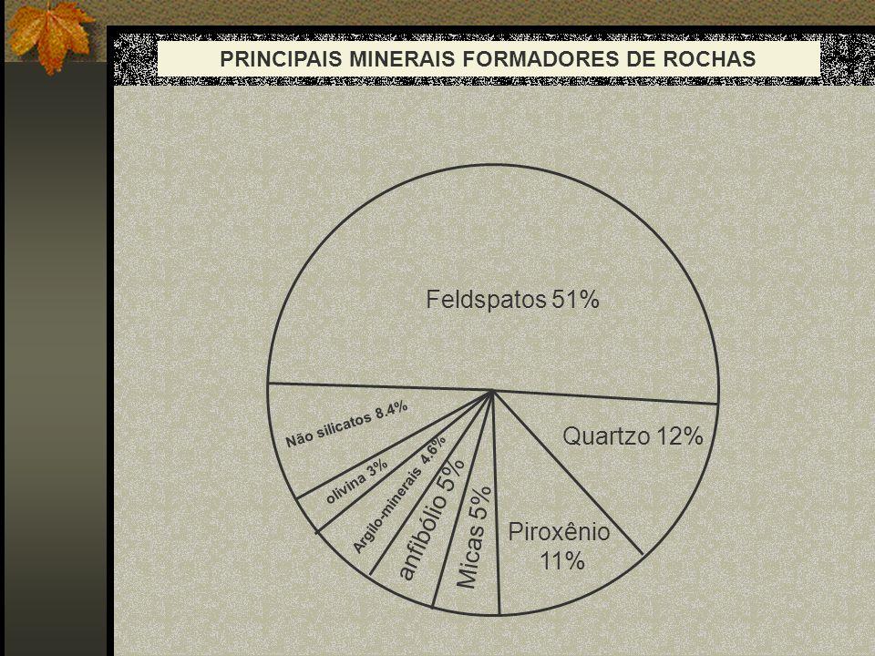 Feldspatos 51% Quartzo 12% Piroxênio 11% Micas 5% anfibólio 5% Argilo-minerais 4.6% olivina 3% Não silicatos 8.4% PRINCIPAIS MINERAIS FORMADORES DE RO