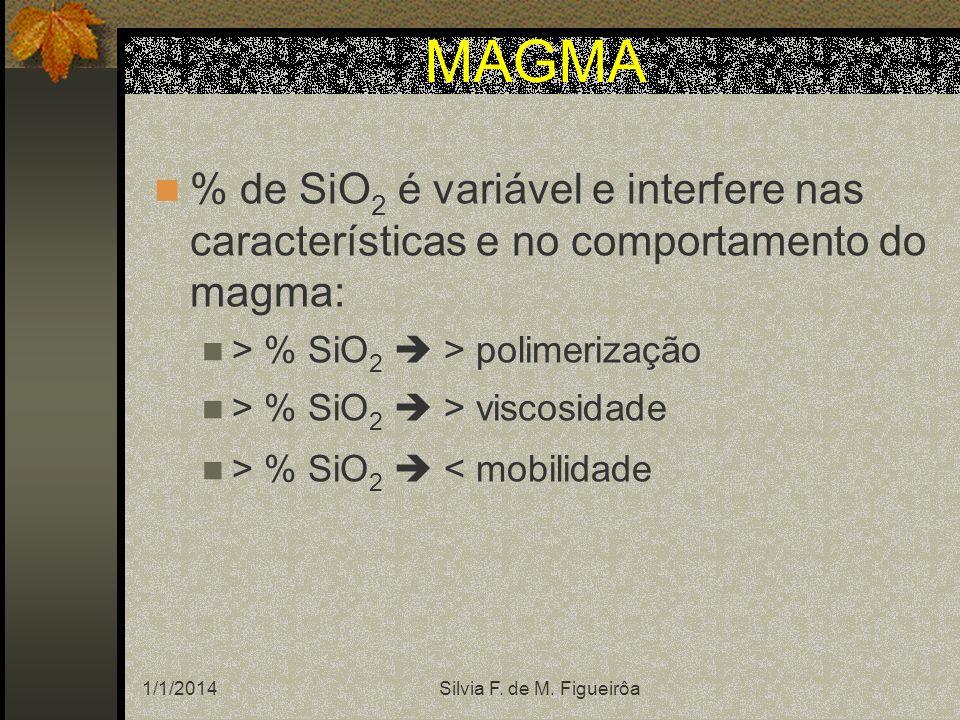 1/1/2014Silvia F. de M. Figueirôa MAGMA % de SiO 2 é variável e interfere nas características e no comportamento do magma: > % SiO 2 > polimerização >