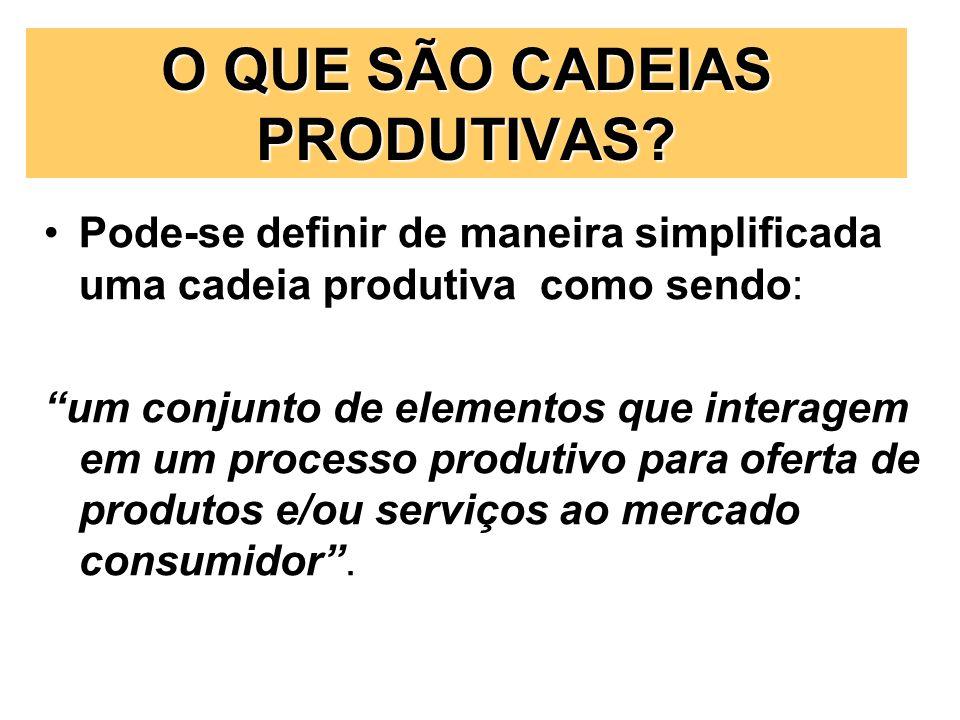 Pode-se definir de maneira simplificada uma cadeia produtiva como sendo: um conjunto de elementos que interagem em um processo produtivo para oferta d
