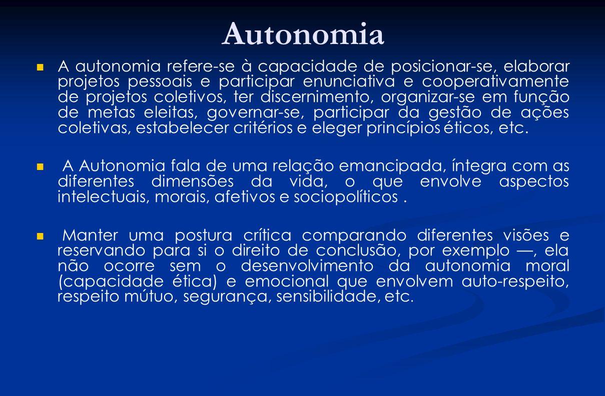 Autonomia A autonomia refere-se à capacidade de posicionar-se, elaborar projetos pessoais e participar enunciativa e cooperativamente de projetos cole