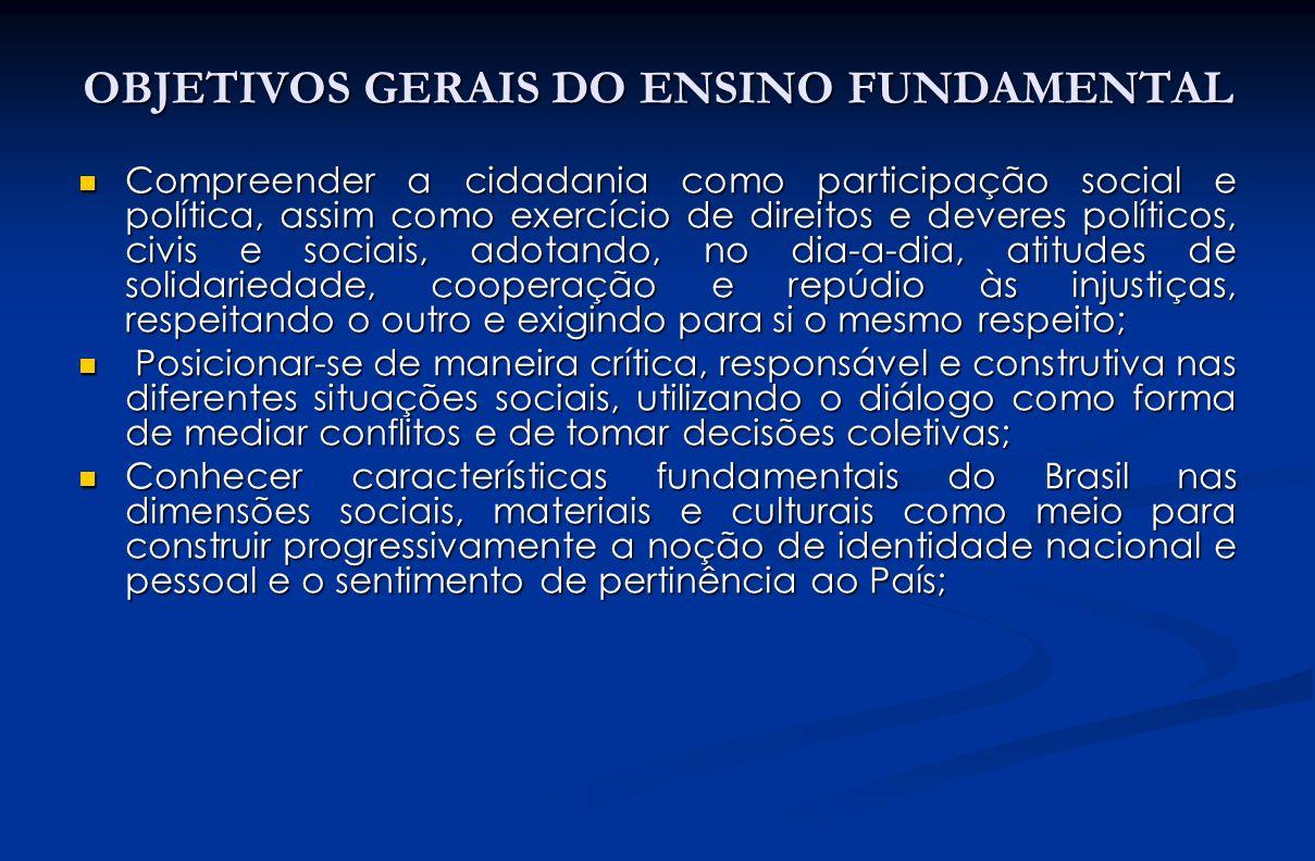 OBJETIVOS GERAIS DO ENSINO FUNDAMENTAL Compreender a cidadania como participação social e política, assim como exercício de direitos e deveres polític