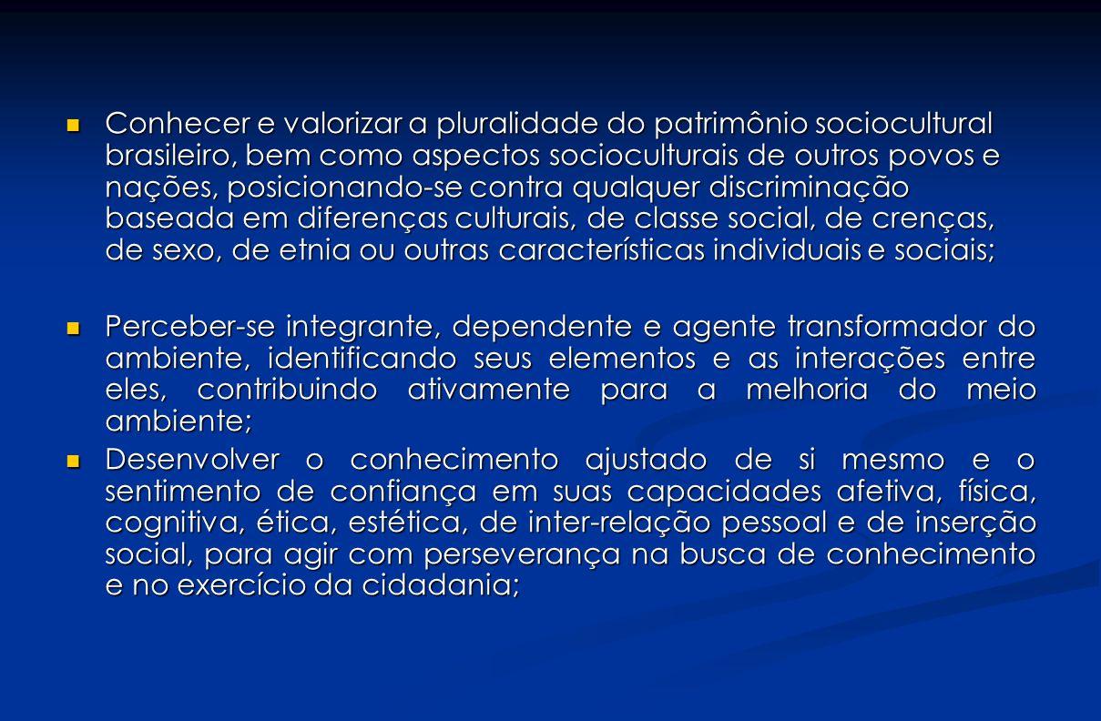 Conhecer e valorizar a pluralidade do patrimônio sociocultural brasileiro, bem como aspectos socioculturais de outros povos e nações, posicionando-se
