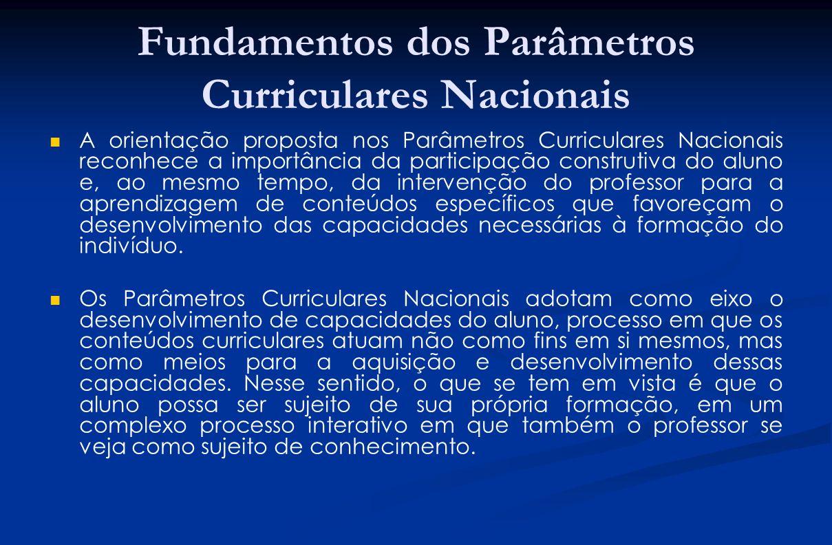 Fundamentos dos Parâmetros Curriculares Nacionais A orientação proposta nos Parâmetros Curriculares Nacionais reconhece a importância da participação