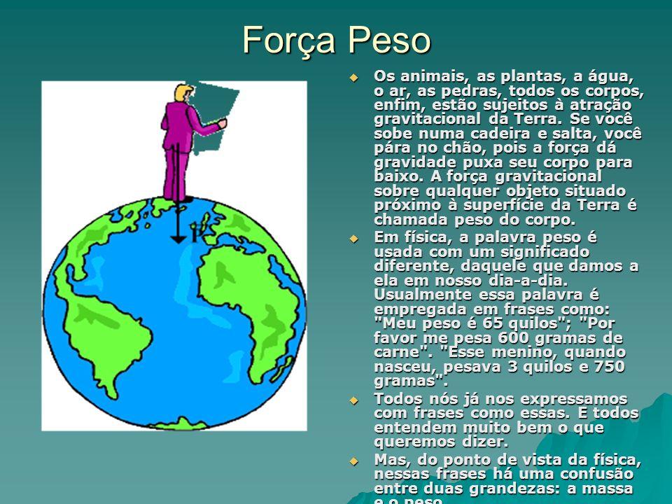 Força Peso Os animais, as plantas, a água, o ar, as pedras, todos os corpos, enfim, estão sujeitos à atração gravitacional da Terra. Se você sobe numa