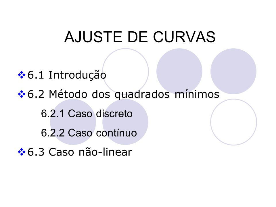 AJUSTE DE CURVAS 6.1 Introdução 6.2 Método dos quadrados mínimos 6.2.1 Caso discreto 6.2.2 Caso contínuo 6.3 Caso não-linear