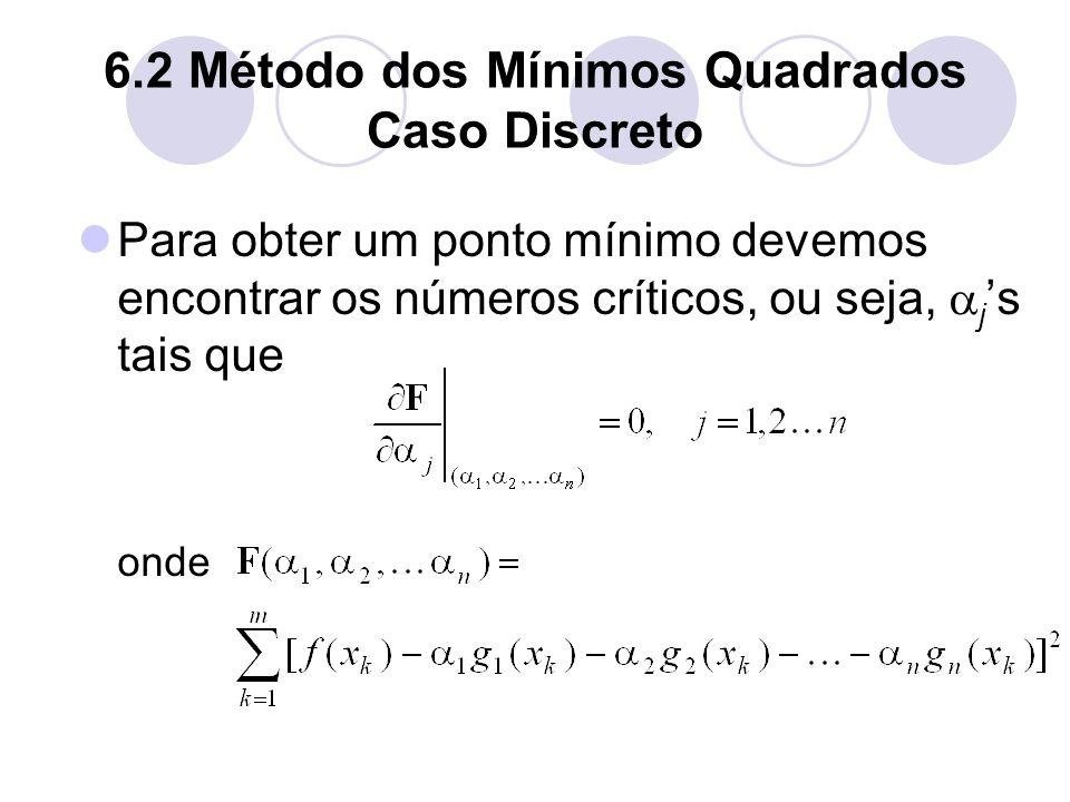 6.2 Método dos Mínimos Quadrados Caso Discreto Para obter um ponto mínimo devemos encontrar os números críticos, ou seja, j s tais que onde