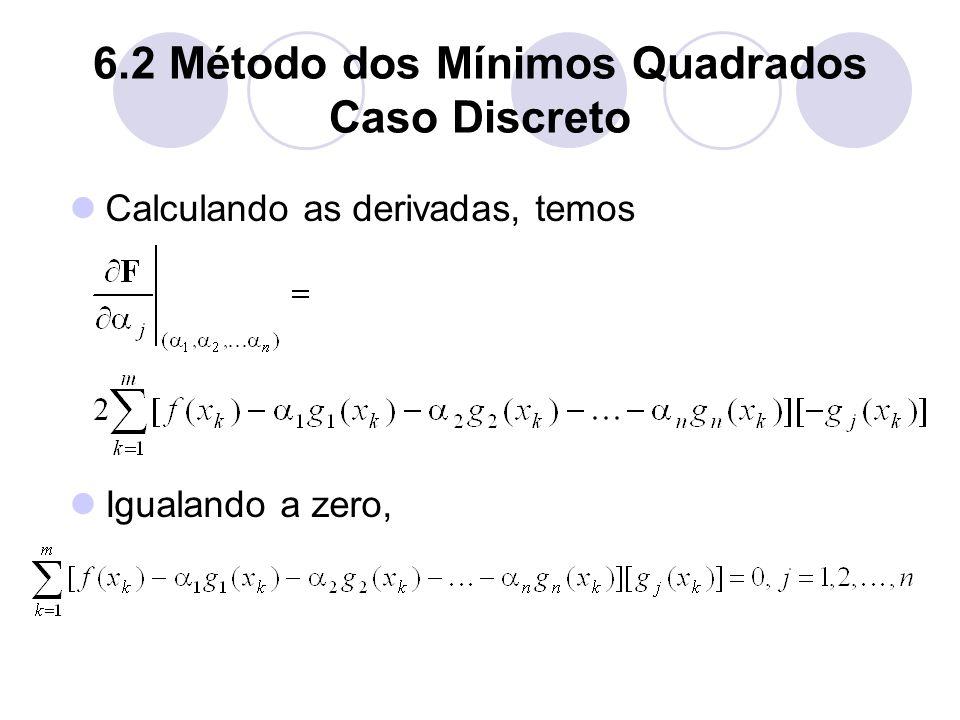 6.2 Método dos Mínimos Quadrados Caso Discreto Calculando as derivadas, temos Igualando a zero,