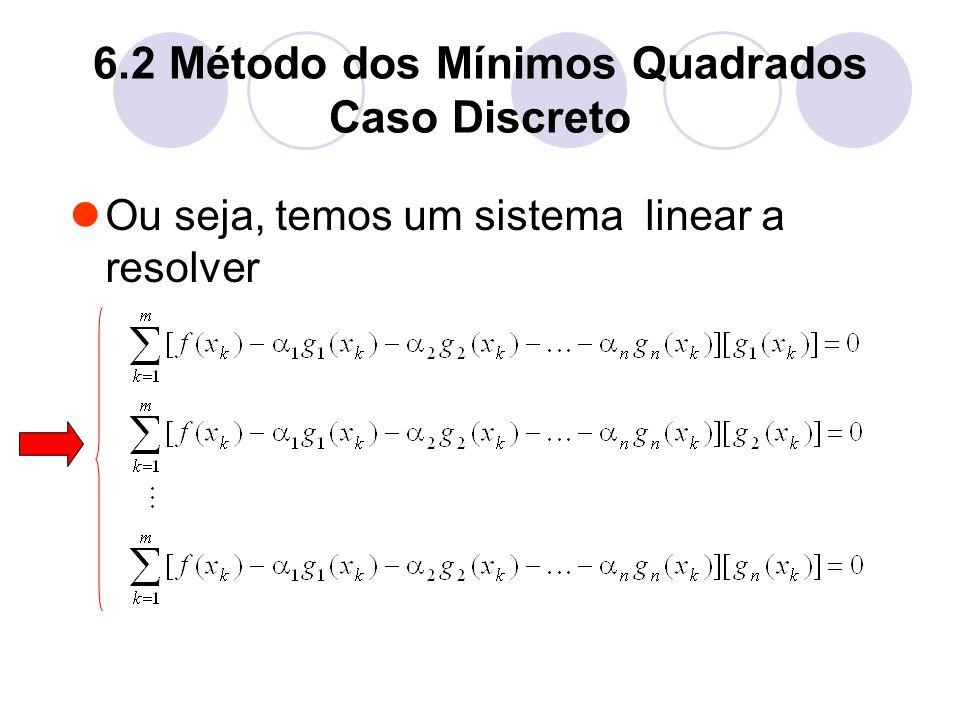 6.2 Método dos Mínimos Quadrados Caso Discreto Ou seja, temos um sistema linear a resolver